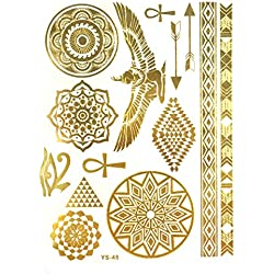 Wrapables Celebrity Inspired Temporary Tattoos in Metallic Gold Silver and Black, Large, Egyptian Motif