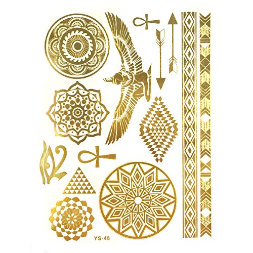 Wrapables Celebrity Inspired Temporary Tattoos in Metallic Gold Silver and Black, Large, Egyptian Motif - Egyptian Tattoos
