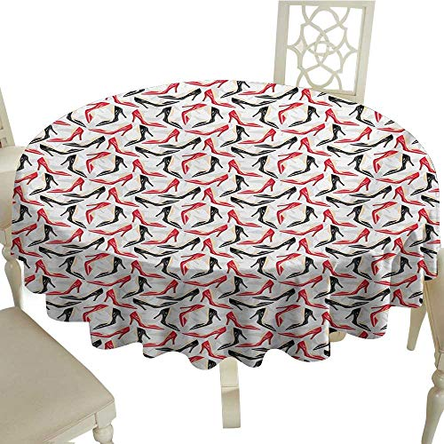 (Round Tablecloth Red and Black Women Fashion Pattern with High Heel Stiletto Shoes Ladies Footwear Washable Tablecloth D50 Suitable for picnics,queuing,Family)