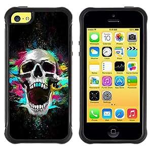 Suave TPU GEL Carcasa Funda Silicona Blando Estuche Caso de protección (para) Apple Iphone 5C / CECELL Phone case / / Skull Neon Scream Teeth Skeleton Colorful /
