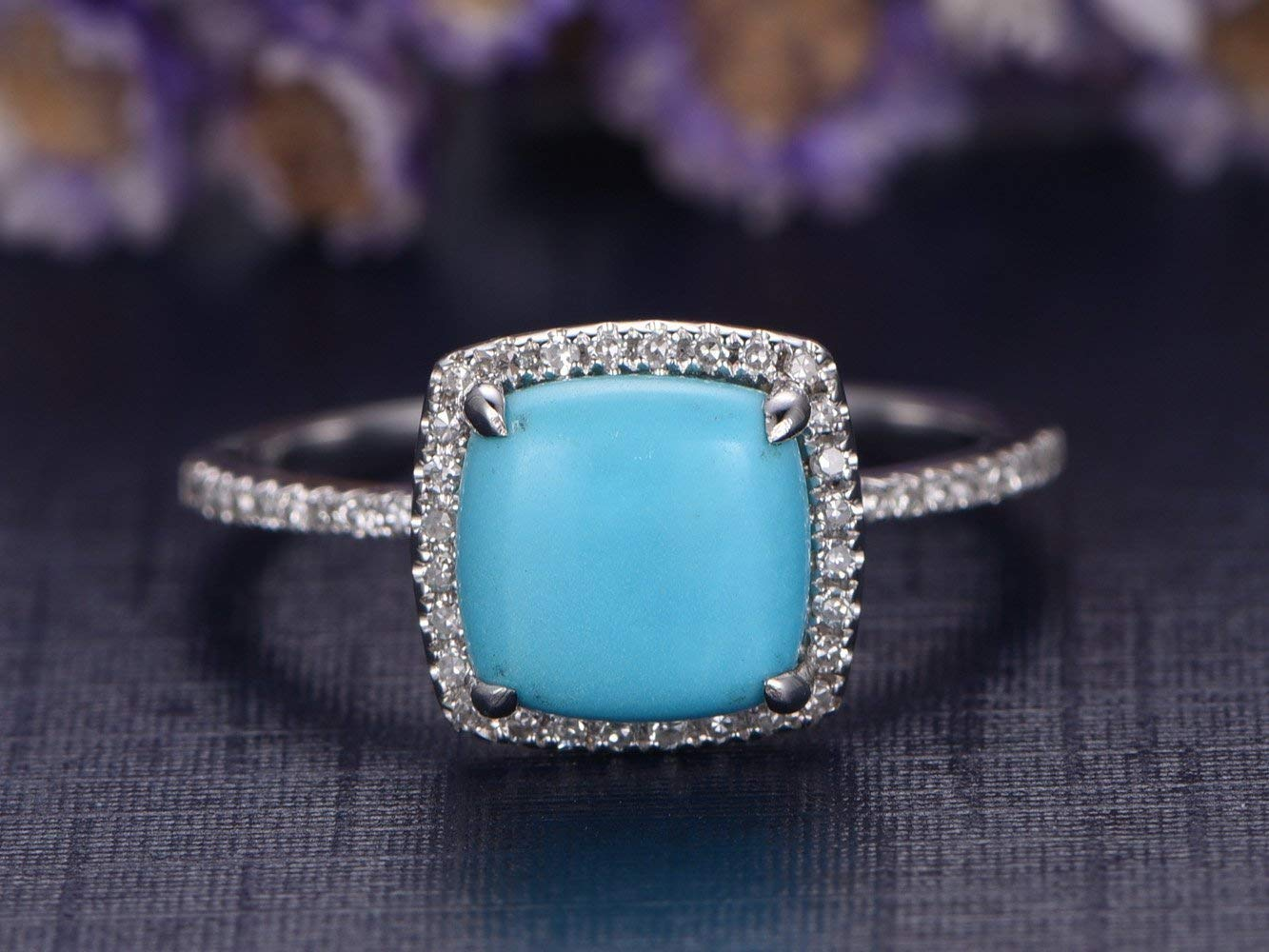 Amazon Com 8mm Natural Cushion Cut Blue Turquoise Engagement Ring