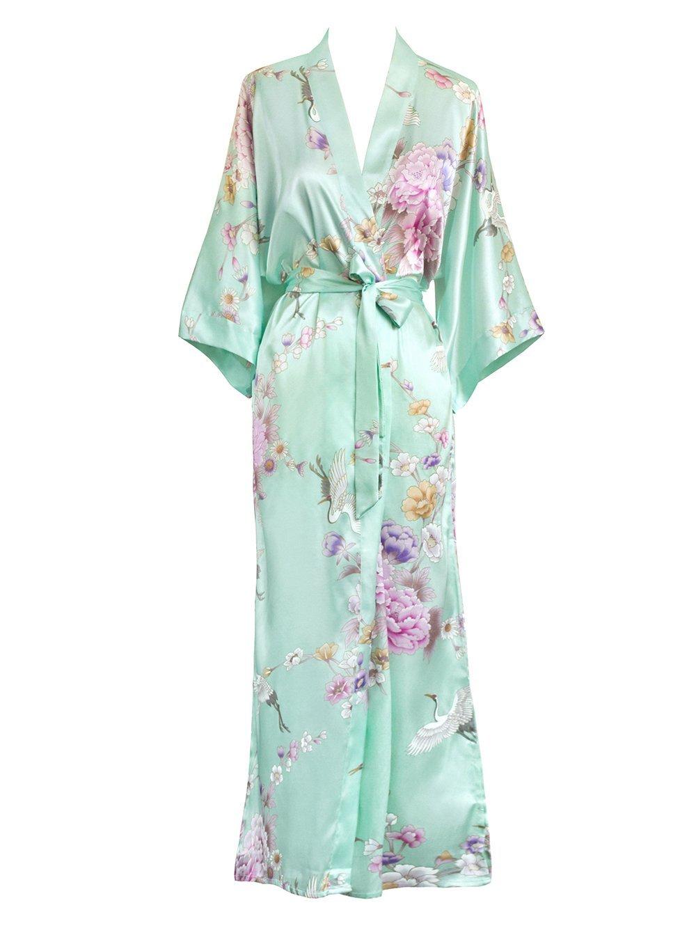 Old Shanghai Women's Kimono Long Robe - Chrysanthemum & Crane (Aqua) One Size Fits Most