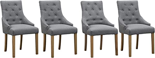 Ansley HosHo Gray Dining Chair Set 4 Kitchen Chair Accent