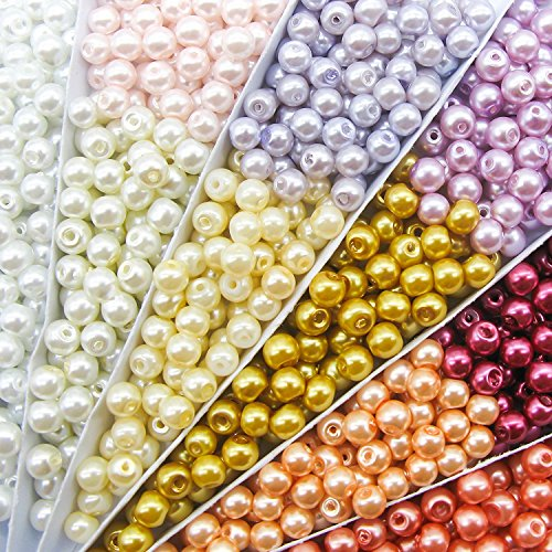 TOAOB 1000 Piece 4mm Tiny Satin Luster Round Glass Pearl Bead Loose Beads Multi Colors Wholesale Beading Kits