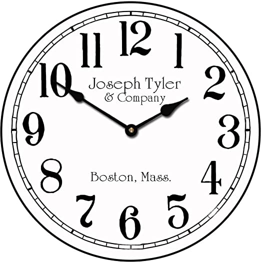 Simply White Wall Clock, Available in 8 Sizes, Most Sizes Ship The Next Business Day, Whisper Quiet.