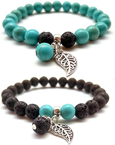 2PCS Lava Stone Healing Yoga Bracelet Blue Turquoise Chakra Agate Natural Beads 8MM Strand Reiki Leaf Charm Bnagle