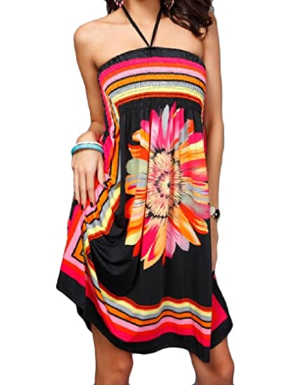 d0a536956f Comaba Womens Open Back Wrapped Chest Printed Sexy Halter Neck Ethnic Beach  Dress at Amazon Women's Clothing store: