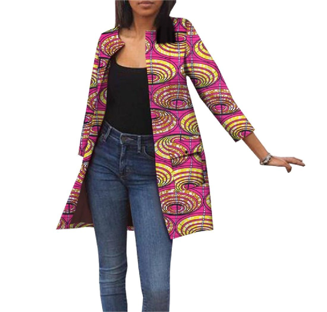 Fieer Womens Dashiki Pockets Cardigan Africa Jackets Simple Trench Coat 13 M