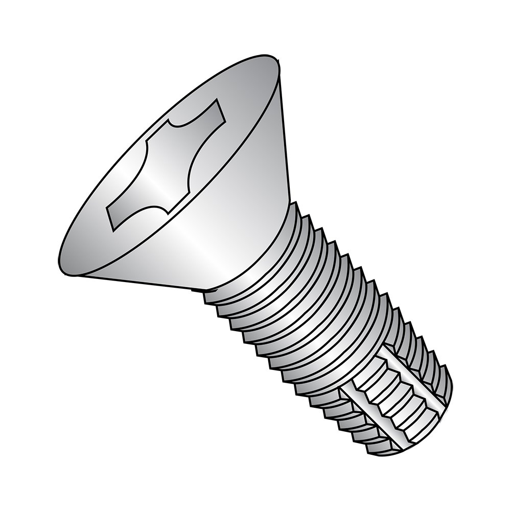 18-8 Stainless Steel Thread Cutting Screw, Plain Finish, 82 Degree Flat Head, Phillips Drive, Type F, 1/4''-20 Thread Size, 1'' Length (Pack of 25)