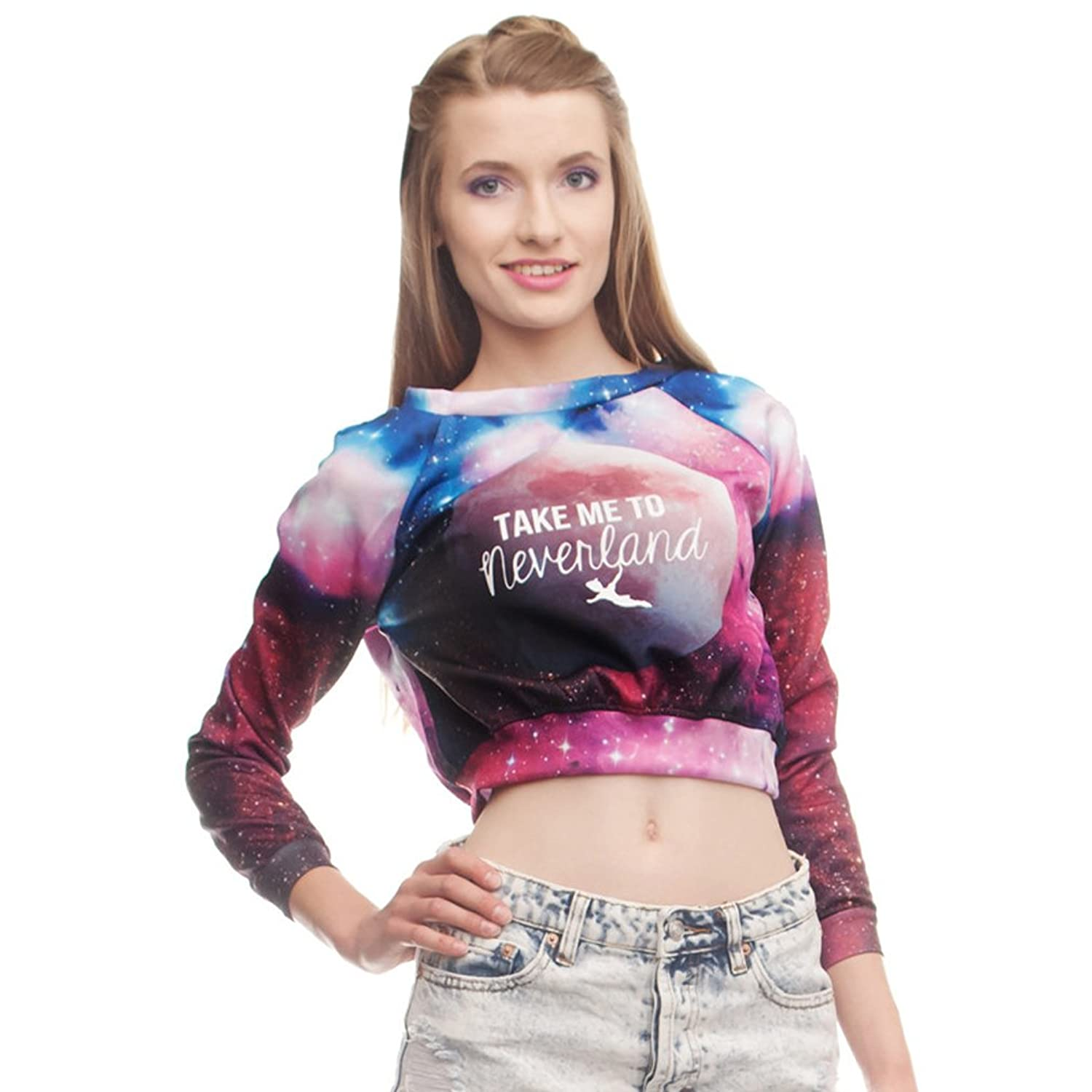 Women Galaxy Pullover Take me to Neverland Printed Long Sleeve Crop Top