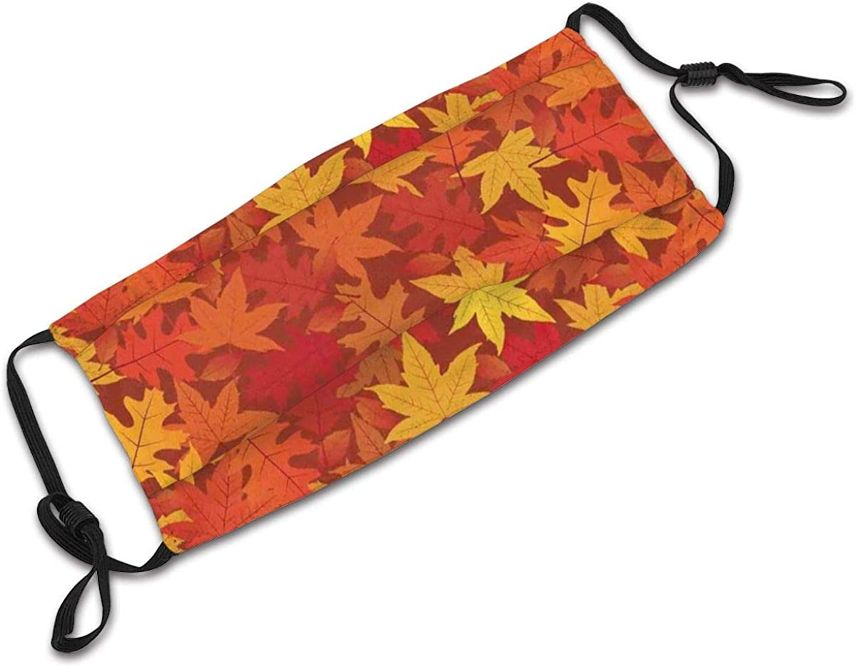 BYJHMB Colorful Autumn Fall Season Maple Leaves in Unusual Designs Nature Artsy Print Cotton Washable Nose Wired Face Cover Filter Pocket Wide Cover with Filter