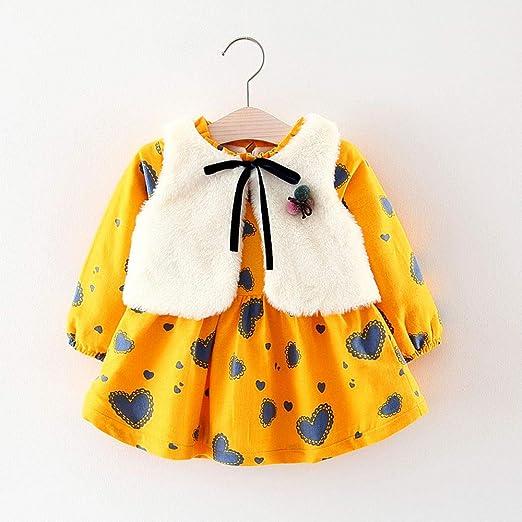 Vestidos niña otoño Invierno, ❤ Amlaiworld Vestido de Princesa Caliente recién Nacido de Dibujos Animados de niñas bebé + Chaleco Trajes Conjunto de ...