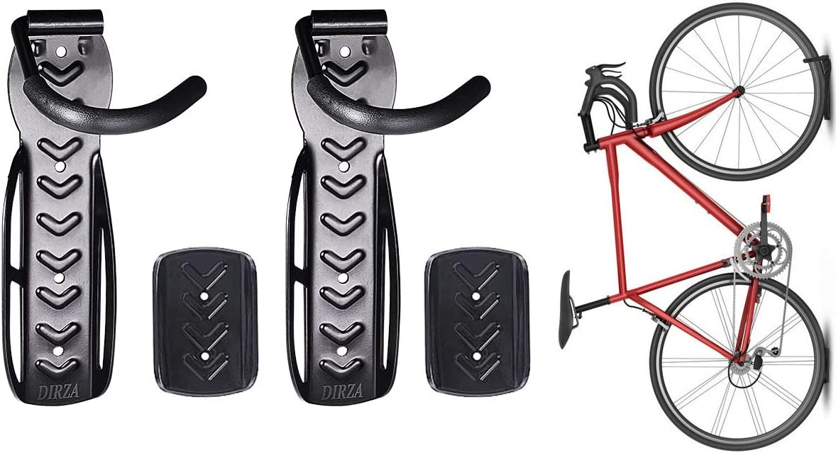 Dirza Bike Wall Mount Rack with Tire Tray - Vertical Bike Storage Rack for Indoor, Garage, Shed - Easy to install - Great for Hanging Road, Mountain or Hybrid Bikes - Screws Included - 2 Pack : Sports & Outdoors