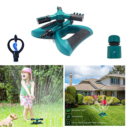 DTC Lawn Sprinkler, Automatic 360 Rotating Adjustable Garden Water Sprinklers Lawn Irrigation System Covering Large Area with 3 Arm Sprayers – Up 3600 SQ FT Coverage-Leak Free Durable