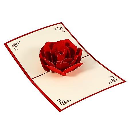 SUPVOX - Tarjeta de felicitación 3D Pop Up - Tarjeta Rosa ...