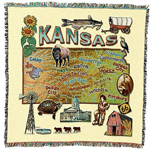 Pure Country Weavers   Kansas State Woven Throw Blanket Cotton USA 54x54