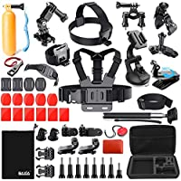 BAXIA TECHNOLOGY 44-in-1 Accessories for GoPro HERO 5 Session 4 3+ 3 2 1 Black Silver SJ4000/5000/6000, Sports Camera Accessories for Xiaomi Yi/ AKASO/ WiMiUS/ Lightdow/ DBPOWER/ APEMAN/ Aokon/ ANART