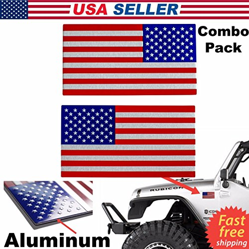 Set of 2 3D - Metal American Flag Decal US Chrome Flag Emblem Sticker Subdued for Auto Truck Car