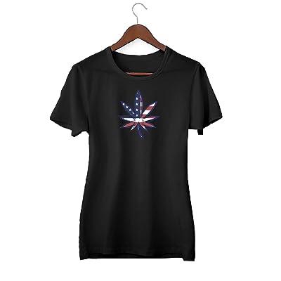 KLIMASALES Weed Marijuana Cannabis Legalize USA Flag_KK019010 Shirt T-Shirt Tshirt para Mujeres - Black: Ropa y accesorios