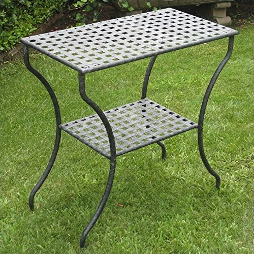 Iron Antique Black 2-Tier Patio Side Table (Outdoor Iron Table)