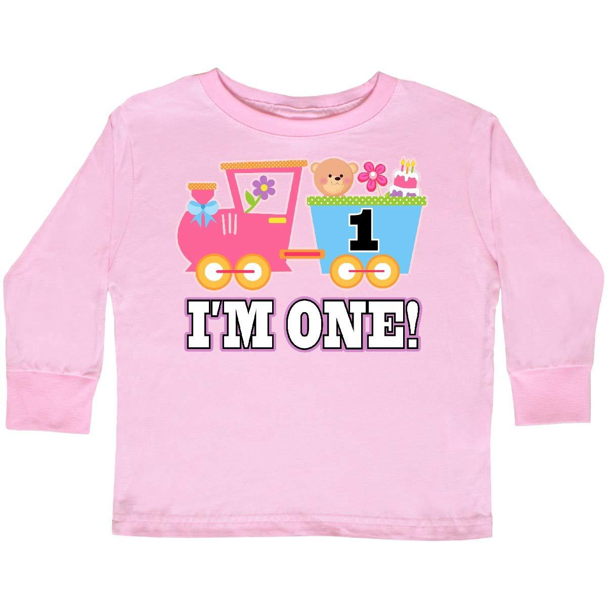 inktastic 1st Birthday Pink Train Girls Toddler Long Sleeve T-Shirt