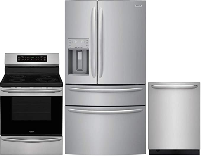 Amazon Com Frigidaire 3 Piece Kitchen Appliance Package With Fg4h2272uf 36 French Door Refrigerator Fgif3036tf 30 Electric Induction Range And Fgid2476sf 24 Built In Fully Integrated Dishwasher In Stainless Steel Appliances