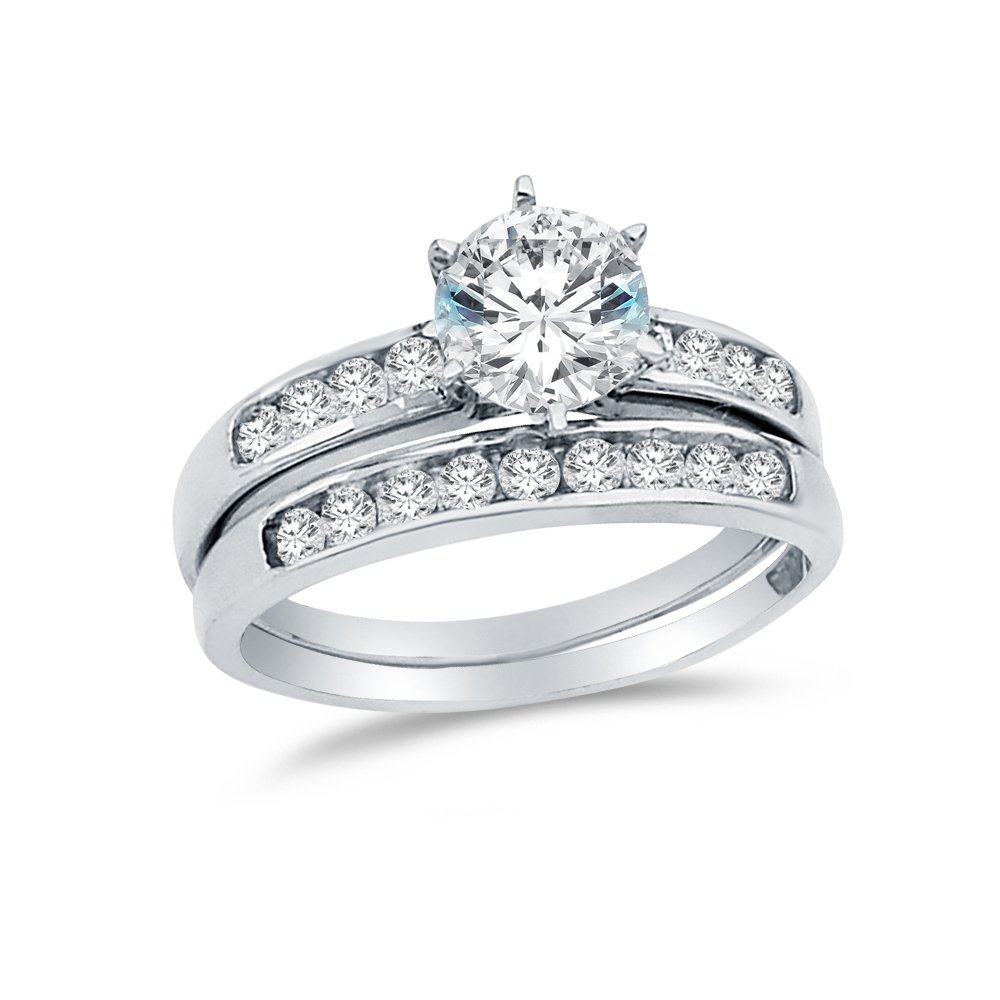 Size - 8.5 - Solid 14k White Gold Round Bridal Engagement Ring & Wedding Band Highest Quality CZ Cubic Zirconia (2.0cttw., 1.0ct. Center)