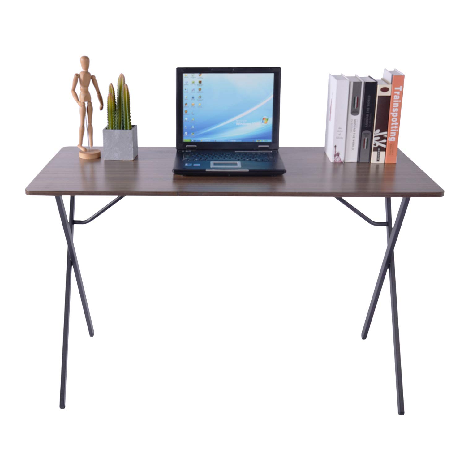 GreenForest Computer Desk, 47'' Large Desktop Simple Writing Desk Workstation for Home Office, Easy Assembly, Walnut by GreenForest