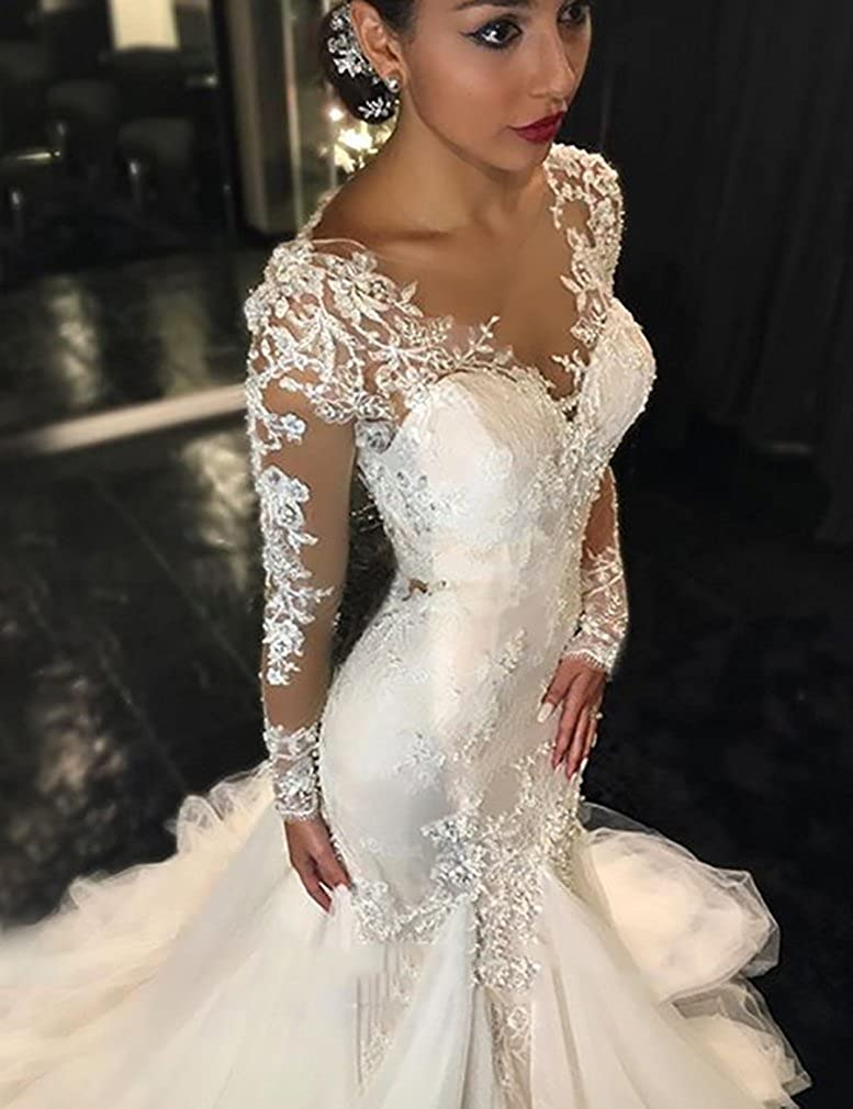 Aorme Gauze Scoop Long Sleeves Beading Lace Appliques Mermaid Wedding Dress Court Train