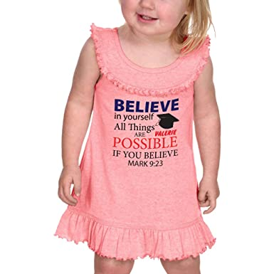 c7351451e3f10 Amazon.com: Personalized Custom in Yourself All Things Possible Ruffle Tank  Dress: Clothing