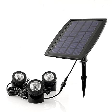 Deckey Reflector ad Energía Solar Focos Impermeable Bajo Agua a LED RGB con 2.5 W Panel