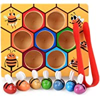 DalosDream Wooden Bee Toddler Fine Motor Skill Toy - Clamp Bee to Hive Matching Game - Montessori Wooden Color Sorting…