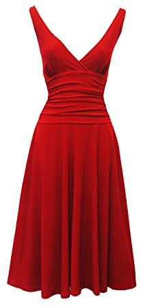 """Red Rosa Rosa"""" Jane"""" Vtg 1950s Rockabilly Pin Up Party Salsa Swing Prom Dress"""