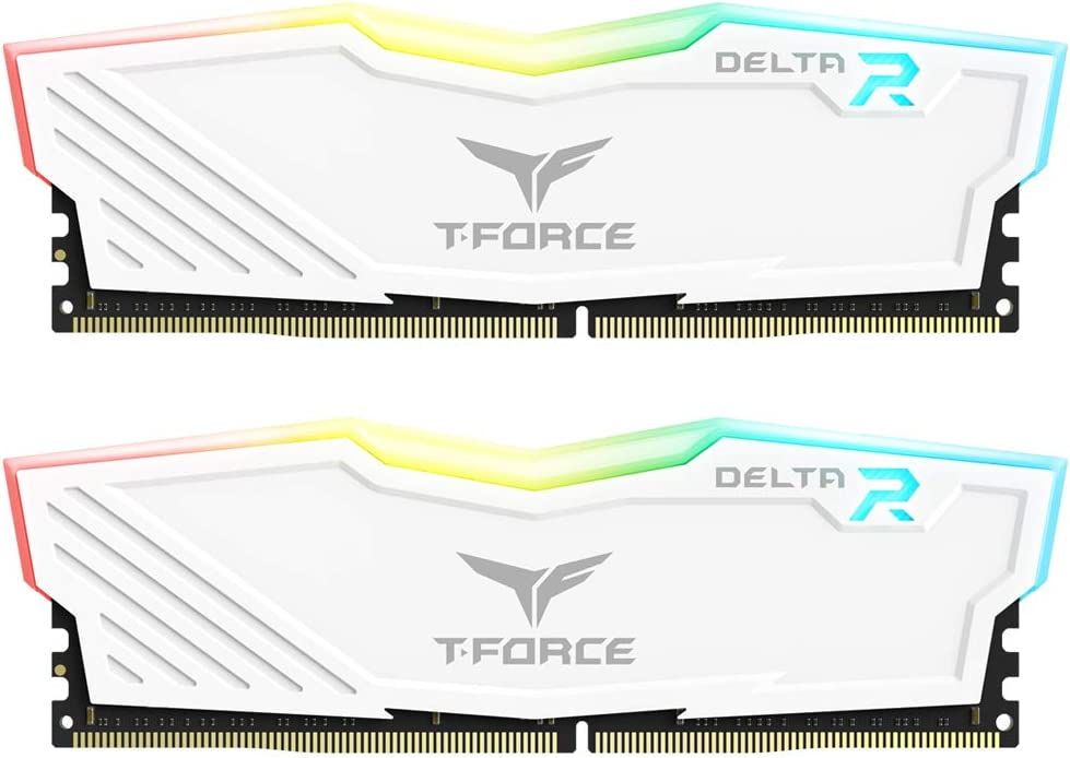 TEAMGROUP T-Force Delta RGB DDR4 16GB (2x8GB) 3200MHz (PC4-25600) CL16 Desktop Memory Module ram TF4D416G3200HC16CDC01 - White