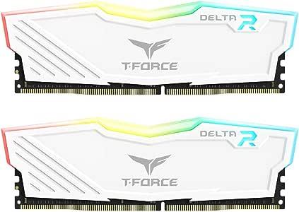 TEAMGROUP T-Force Delta RGB DDR4 16GB (2x8GB) 3200MHz (PC4-25600) CL16 Desktop Memory Module ram TF4D416G3200HC16CDC01 - White
