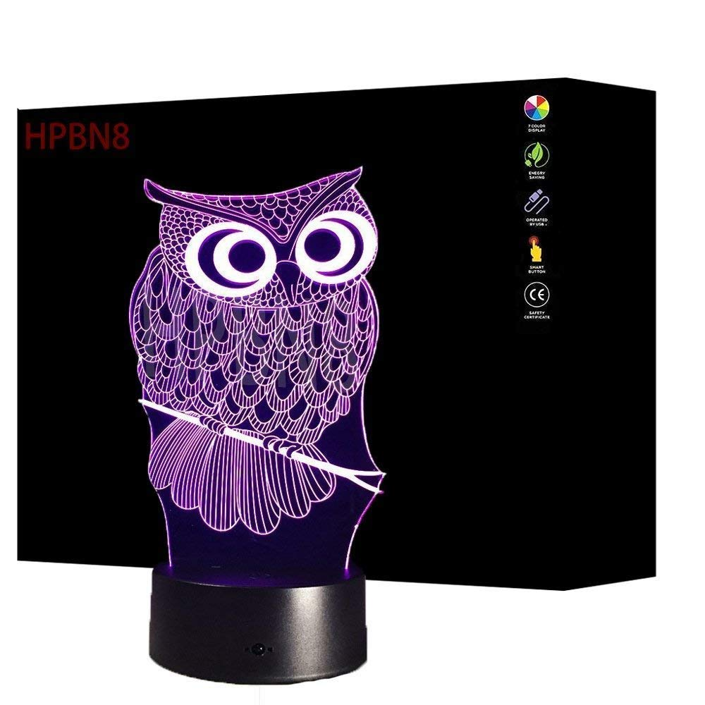 3D Owl Night Light USB Touch Switch Decor Table Desk Optical Illusion Lamps 7 Color Changing Lights LED Table Lamp Xmas Home Love Brithday Children Kids Decor Toy Gift