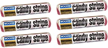 Wooster Brush R209 9 inch Candy Stripe Roller Cover 1/4 inch Nap, Pack of 6