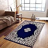 Reliable Trends Velvet Touch Chenille Carpet for Living Room Dining hall Mats Floor (Blue)