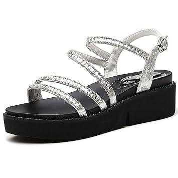 HAIZHEN chaussures pour femmes Sandales Femme Étudiant Été Sandales plates Mode Casual Chaussures de fille Pour femmes (Couleur : Noir, taille : EU36/UK3.5/CN35)