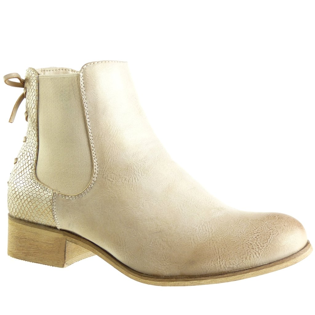 Angkorly Chaussure Mode Bottine 3 Chelsea Boots - Femme Or Noeud Lacets Talon Bloc 3 cm - Intérieur Fourrée Or a589e72 - therethere.space