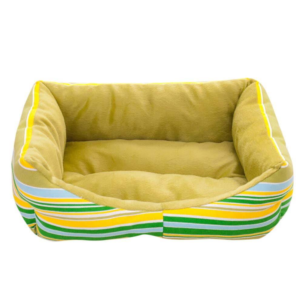 Hisoul Pet Dog Cat Bed House Rainbow Striped Soft Warm Kennel Dog Mat Blanket Cushion Bed for Dogs & Cats Sizes (Yellow, S-Size:45x40x12cm)