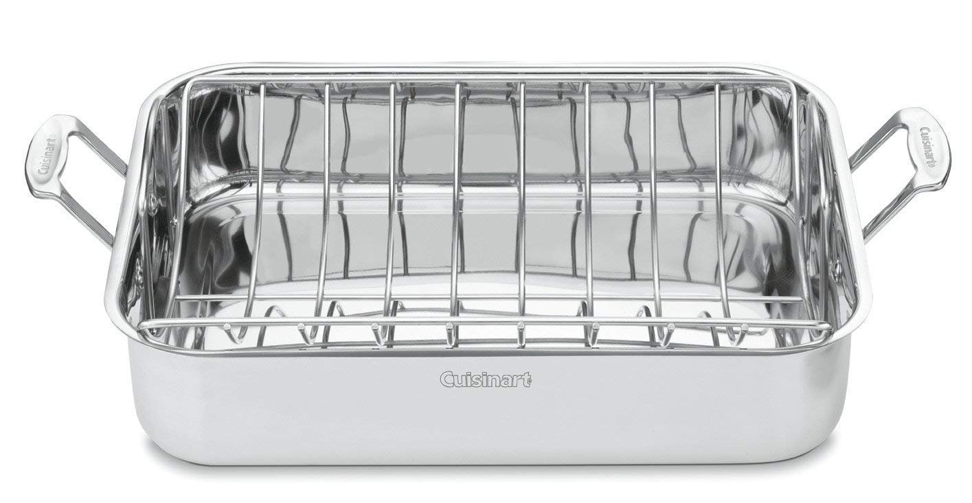 Classic Kitchen 16 Inch Rectangular Stainless Steel Roaster Grill Pan with Rack