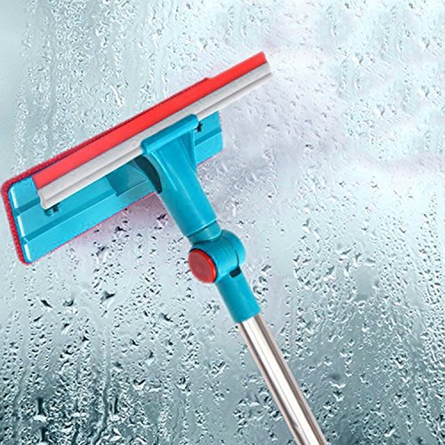 Glass Wiper Window Cleaner Cleaning Brush Long Handle Double Side Mirror, Ceramic Tile Wall, Bathroom Partition And Other Family Places (Wall Ceramic Handle)
