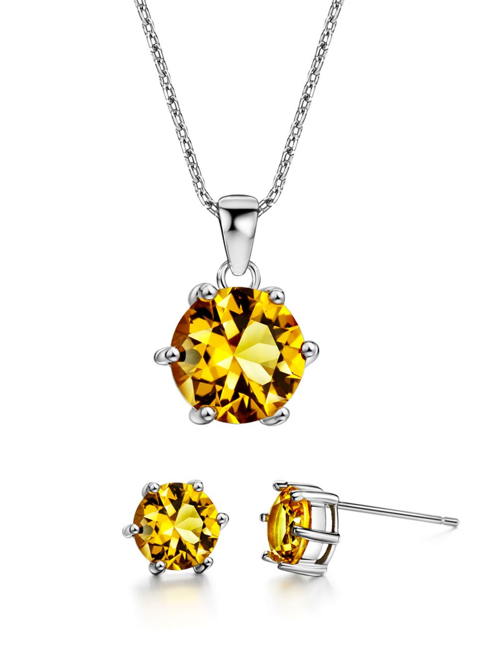 3ct Citrine Jewelry Set Sterling Silver Pendant Necklace Stud Earrings November Birthstone Gemstone Jewelry for Women