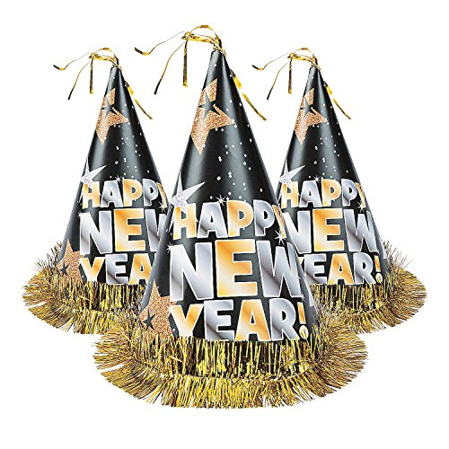 Happy New Year Paper Cone Hat (Set of 12) New Year's Eve Party Supplies