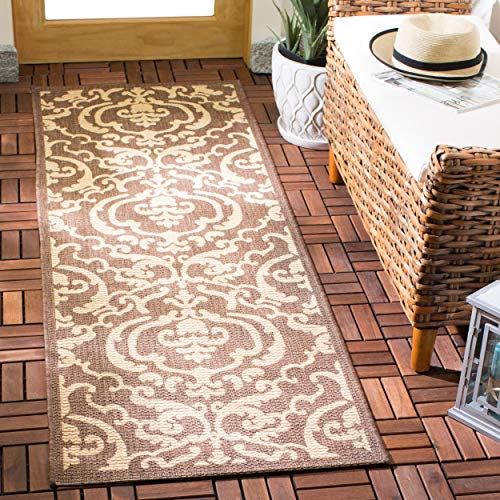 Safavieh Courtyard Collection CY2663-3409 Chocolate and Natural Indoor/Outdoor Area Runner, 2-Feet 4-Inch by 6-Feet 7-Inch