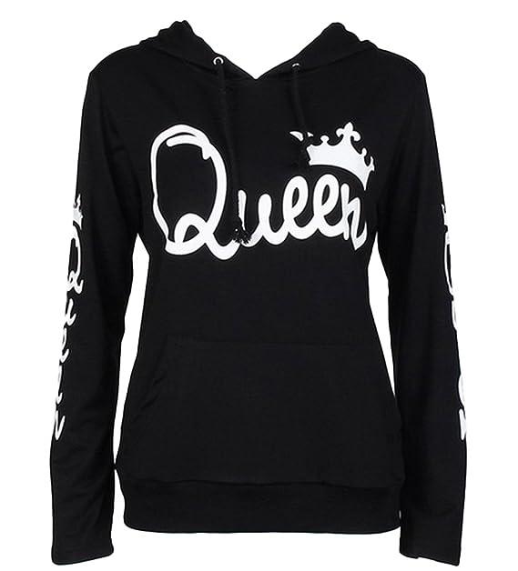 Tomwell Hombre Y Mujer Moda King Queen Impresión Sudaderas con Capucha Manga Larga Pullover Camisas Jersey Hoodies Parejas Tops F Queen Negro EU XXL: ...