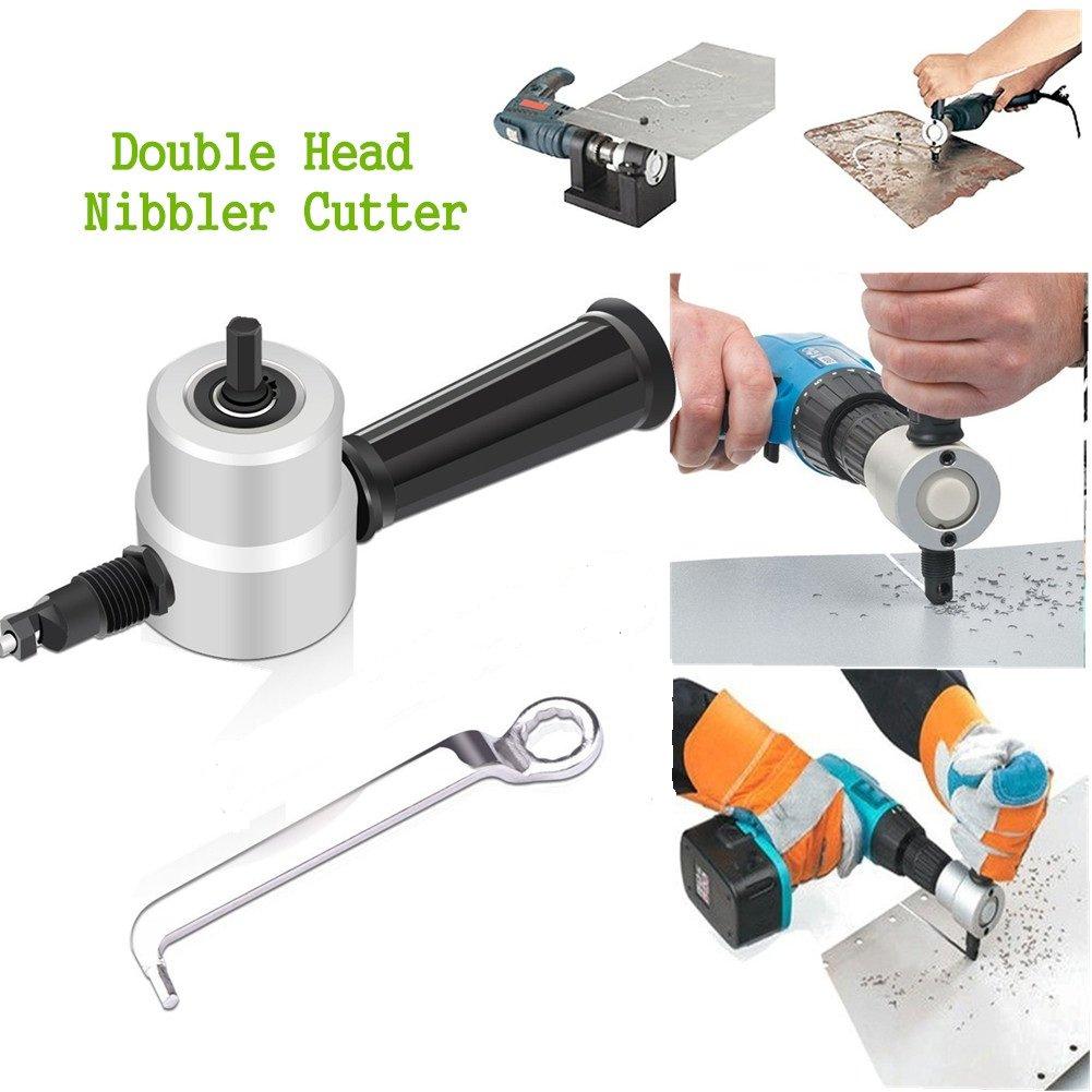 Adv-one Double Head Metal Sheet Nibbler Cutter Drill Attachment Set-Metal Cutting Drill Tool Tackle Car Repair Metal Sheet (Cutter)