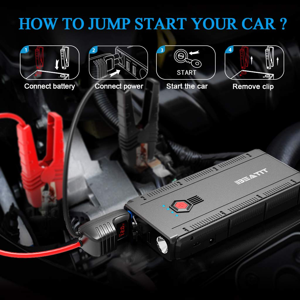 BEATIT BT-G22 QDSP 1500A Peak 12V Portable Car Lithium Jump Starter (up to 8.0L Gas and 6.2L Diesel) Battery Booster Phone Charger Power Pack with Smart Jumper Cables G22 by BEATIT (Image #7)