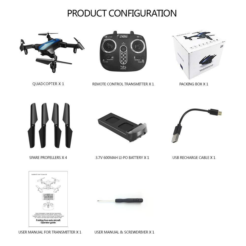 ScharkSpark Drone for Beginners, Portable RC Quadcopter with Foldable Arms Indoor/Outdoor Play, 6-Axis Gyro One-Key Return/Headless Mode/Altitude Hold/3D Flips, Warrior II by ScharkSpark (Image #7)